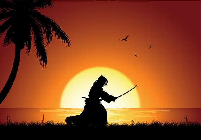 kendo-silhouette-beach-free-vector